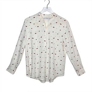 & Other Stories Lipstick Print Cream Blouse Sz 6